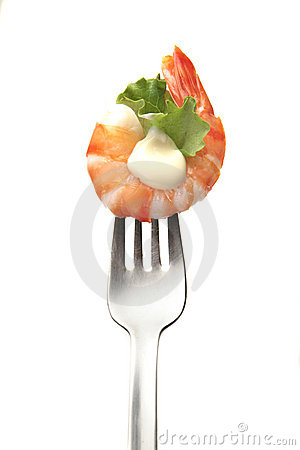 King prawn in a fork