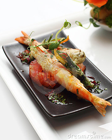 King prawn with vegetable tempura