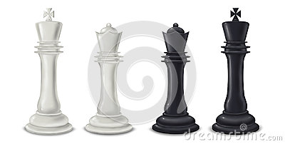 King and Queen chess pieces - digital illustration
