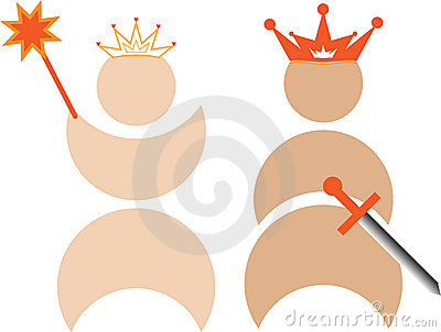 King and queen with crowns