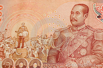 King Rama V on Thai banknote