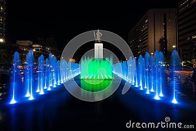 King Sae Jong Dae Statue Night Fountain Centered