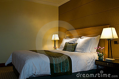 King size bed in a five star hotel suite room