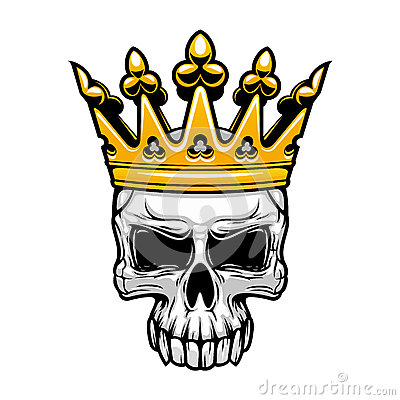 king skull in royal gold crown stock vector image 69392801