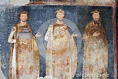 Kongene Stefan Radoslav, Stefan Vladislav og Stefan Prvovenčani, freske fra klosteret Mileševa nær Prijepolje i Serbia © Pajche | Dreamstime.com