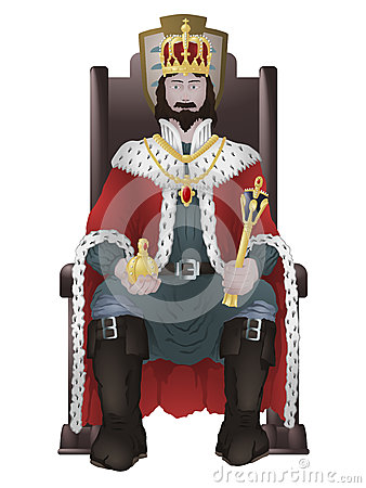The king sitting on the throne. He is wearing the crown jewels. Vector ...