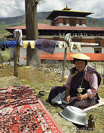 Kingdom of Bhutan - Drying Meat Editorial Photo