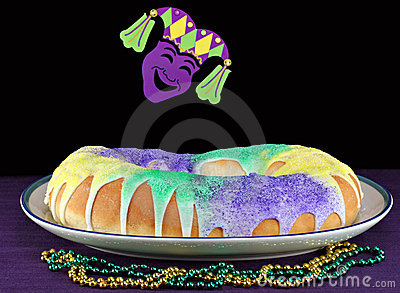 Kings Cake in Mardi Gras Setting