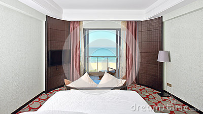 Kingsize bed room with sea view
