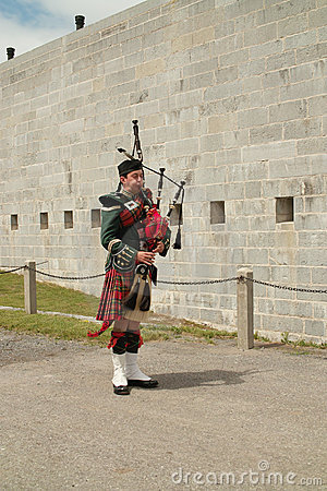 Kingston Ontario Canada Fort Henry Guard Bagpiper Editorial Photo