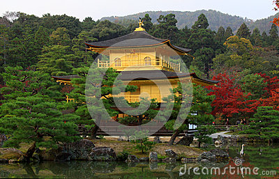 Kinkakuji in autumn season - famous Pavilion
