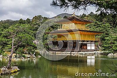Kinkakuji golden temple in spring time, Kyoto Japan
