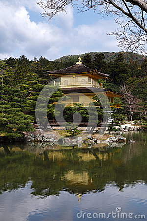Kinkakuji golden temple in springtime, Kyoto Japan