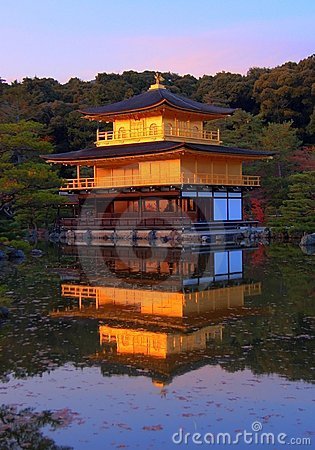Kinkakuji temple at sunset