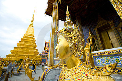 Kinnari statue at grand palace,, Bangkok Thailand.