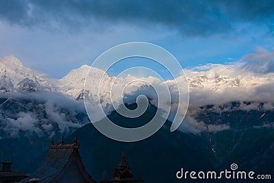 Kinnaur Kailash Mountain Kalpa Temple Roof