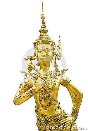 在鲜绿色菩萨寺庙的Kinnon金黄雕象