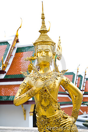 Kinnon Golden statue in The Emerald Buddha temple