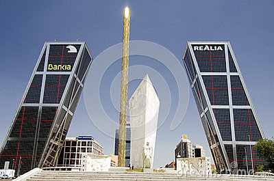 KIO towers in Madrid Editorial Stock Image
