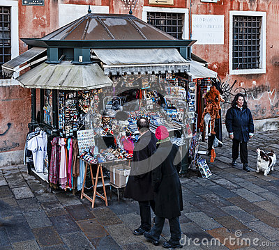Kiosk with Souvenirs in Venice Editorial Photography