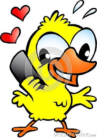 Kip die die op cellphone spreekt