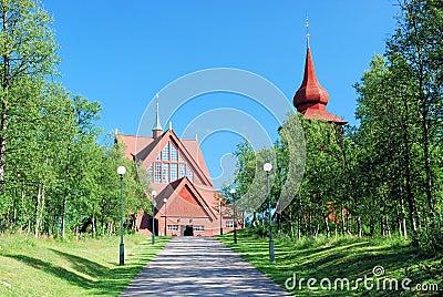 Kiruna Kyrka large wooden Sami church Lapland