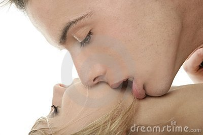 Kiss over white, young passion couple