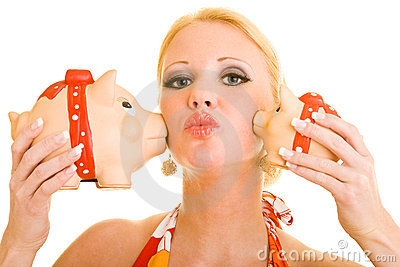 Kiss from piggy banks