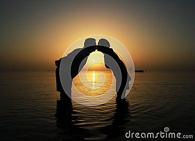 Kiss at  sunrise in Egypt
