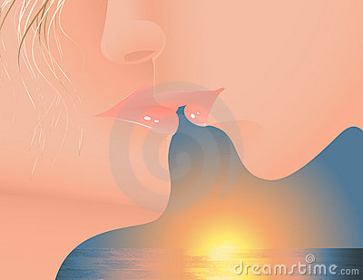 Kiss in the sunset