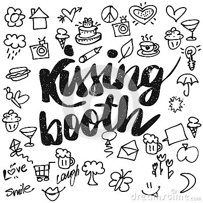 Free Kissing Booth Typo And Doodles Stock Image - 77494441