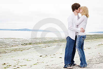 Kissing caucasian couple in love