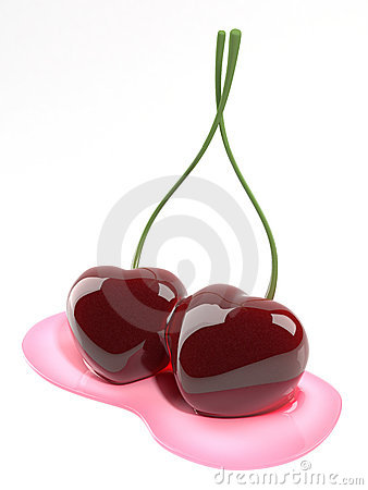 Kissing cherries heart shaped
