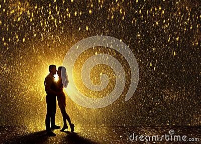 Kissing Couples Silhouette, Contour Valentine s Couple Love Stock Photo