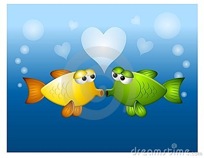 Kissing Fish Love Bubbles