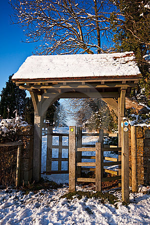 Kissing gate on a bright winter afternoon