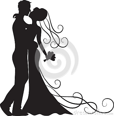 Kissing groom and bride Vector Illustration