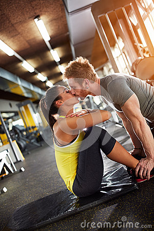 Free Kissing In Gym Stock Image - 85577931