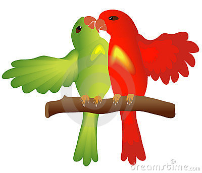 Kissing lovebirds