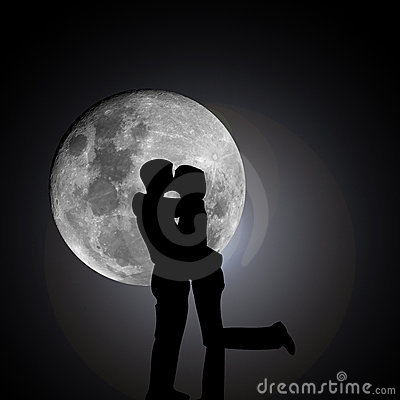 Kissing lovers by night with moon