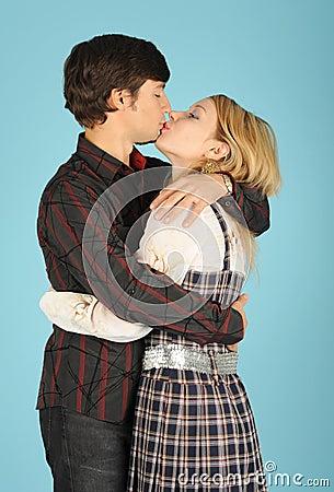 Kissing loving couple