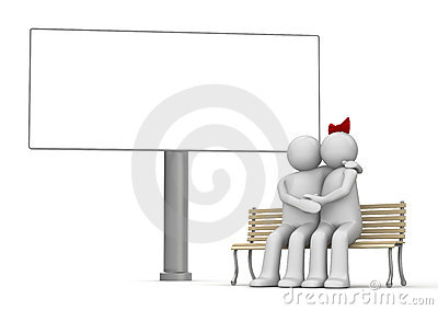 Kissing man and woman on a bench with copyspace