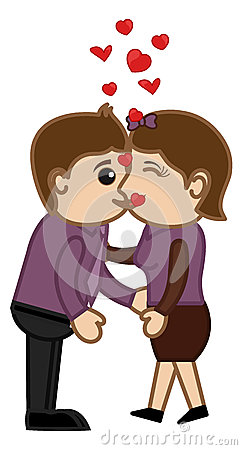 Kissing Man and Woman - Cartoon Characters