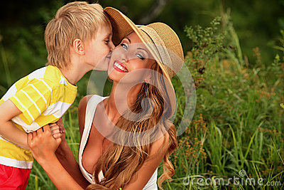 Kissing mom