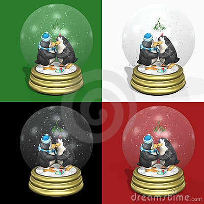 Kissing Penguins Snowglobes