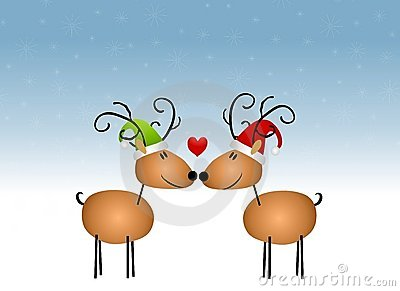 Kissing Reindeer Cartoon