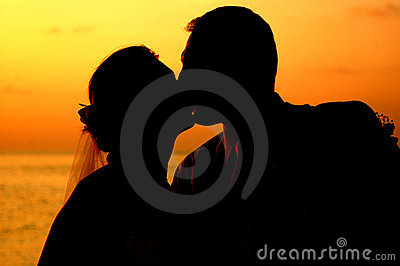 Kissing at sunset