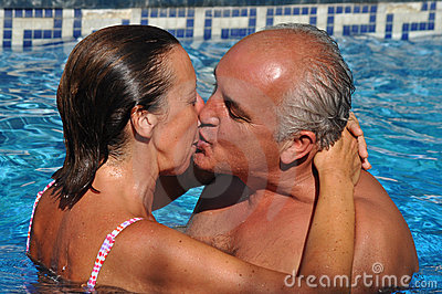Kissing in a swimming pool