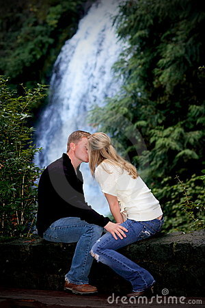 Kissing by the Waterfall