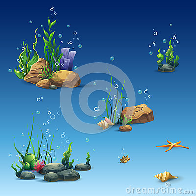 Free Kit Of The Underwater World With Shell, Seaweed, Starfish, Stones Royalty Free Stock Image - 59562846